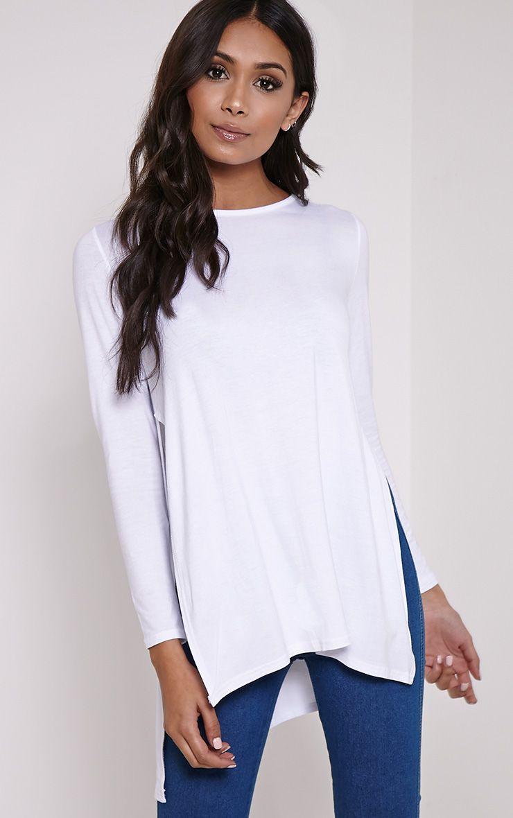 Basic White Long Sleeve Side Split Top