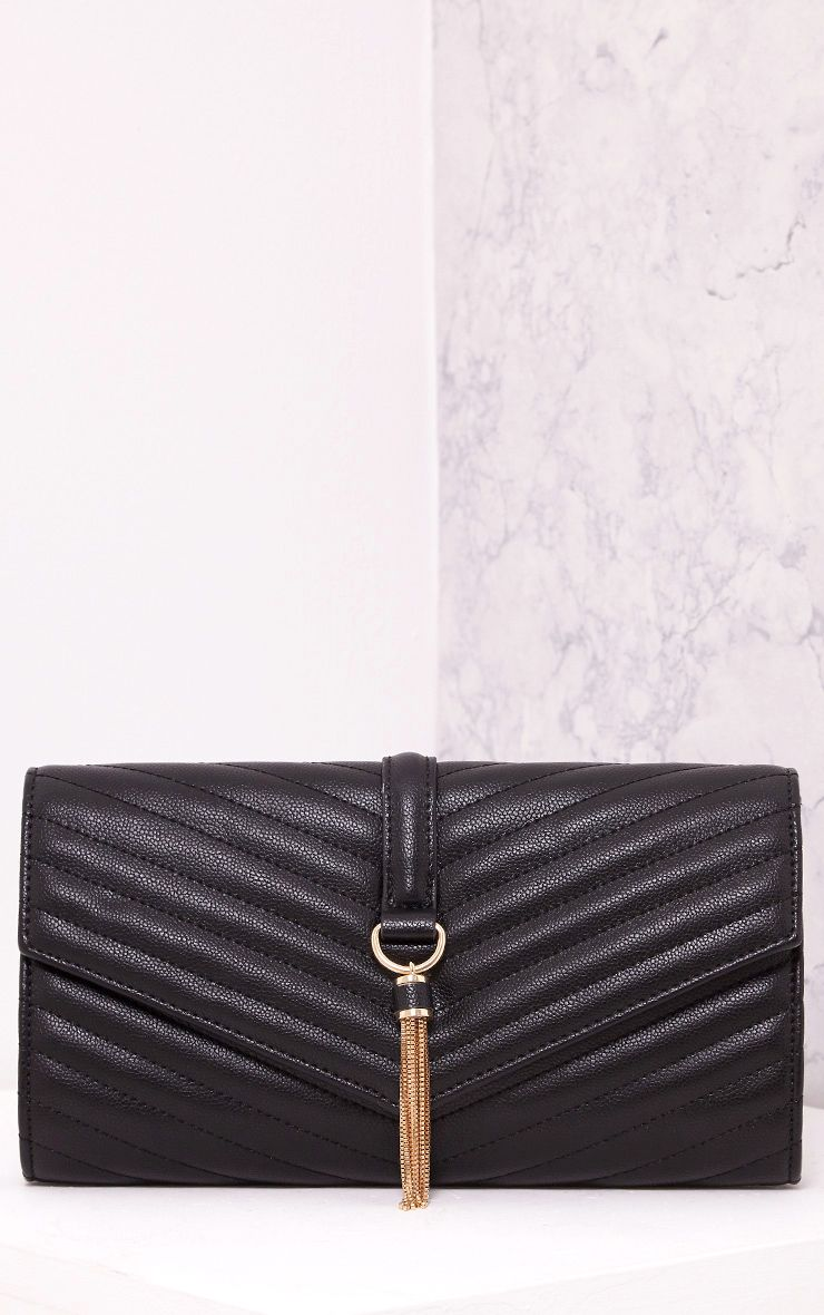 Vandra Black Chain Tassel Detail Clutch Bag Black