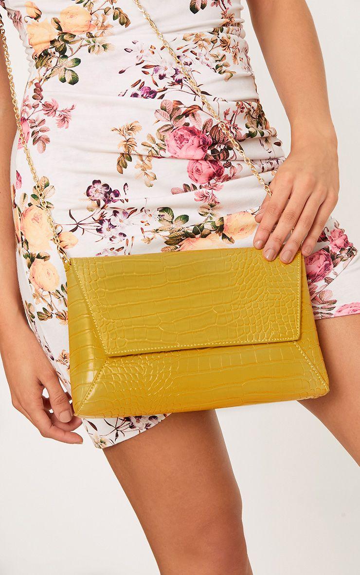 Lemon Reptile Structured Shoulder Bag