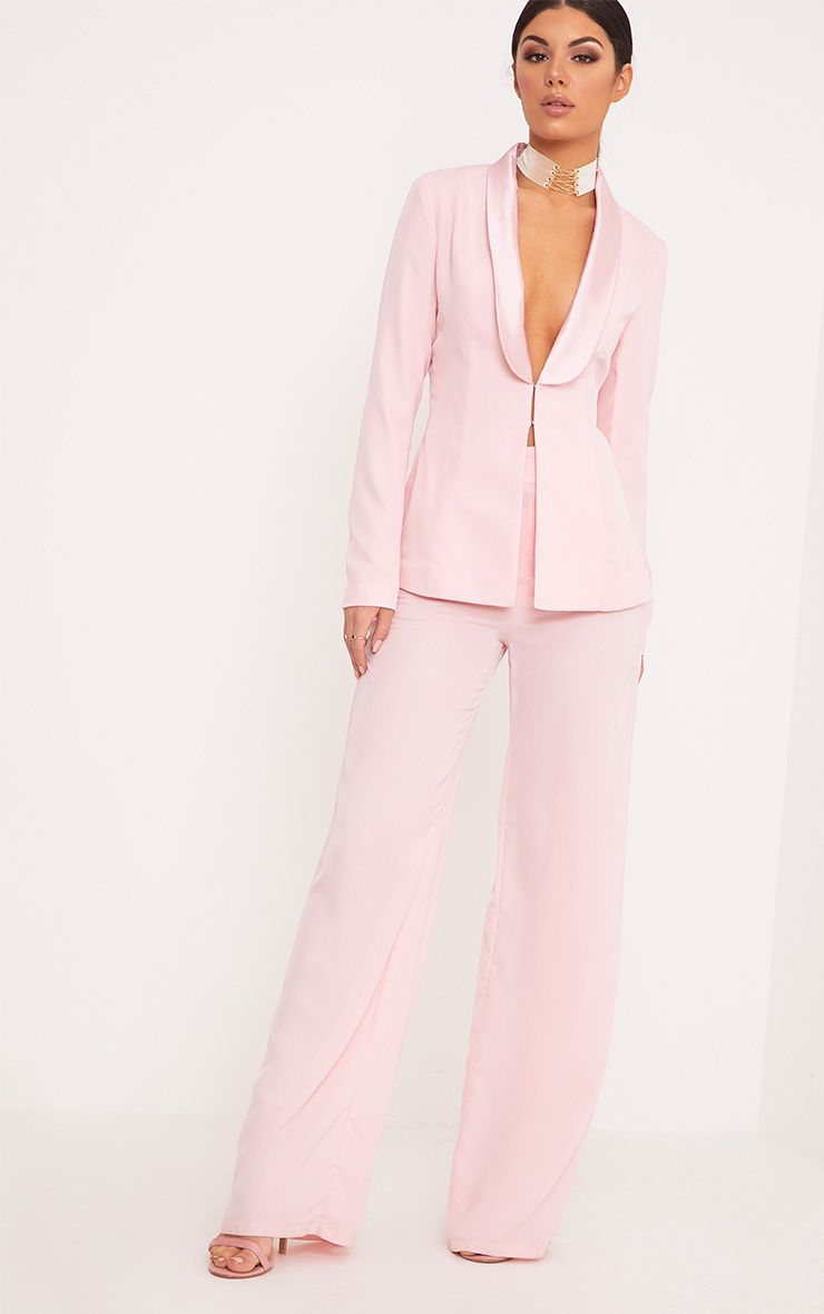 Elnie Baby Pink Wide Leg Suit Trousers