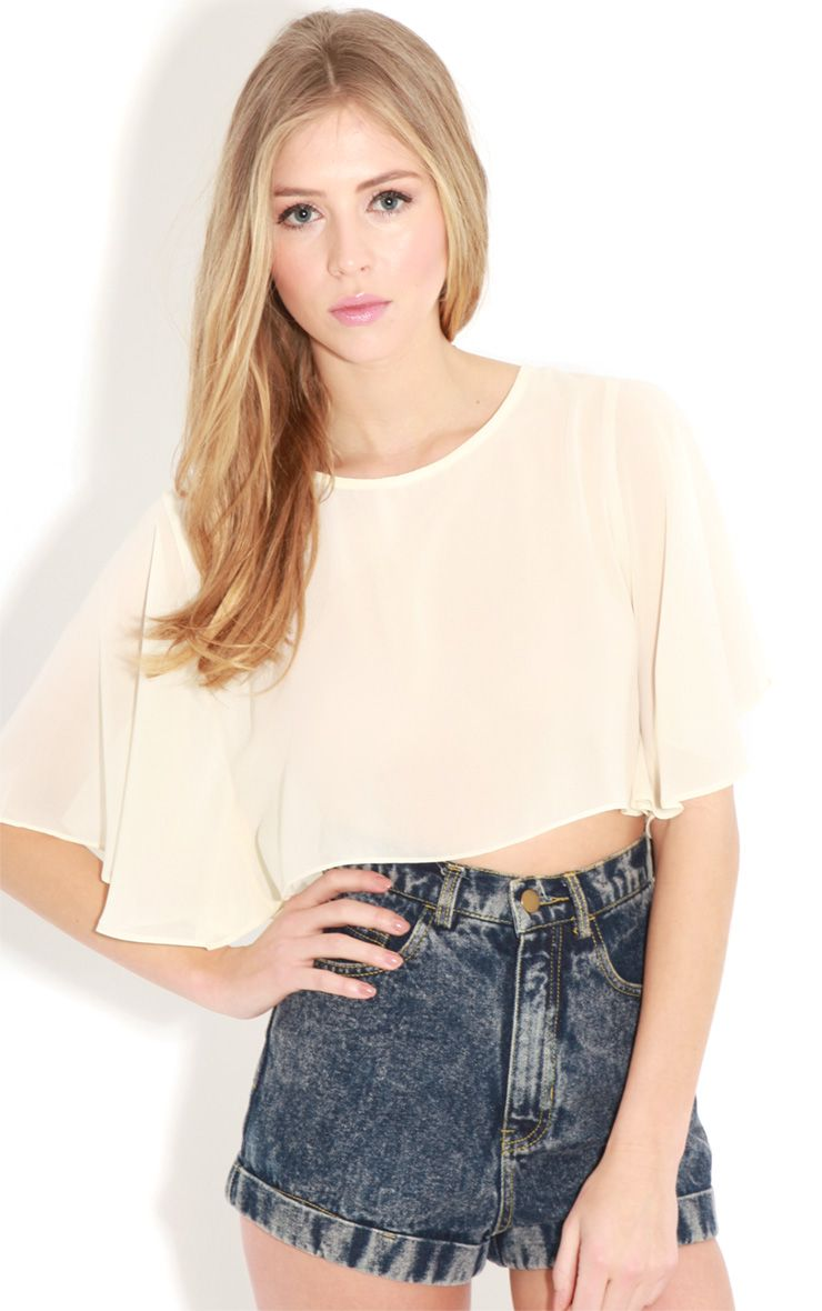 Gemma Cream Chiffon Crop Top-M 1