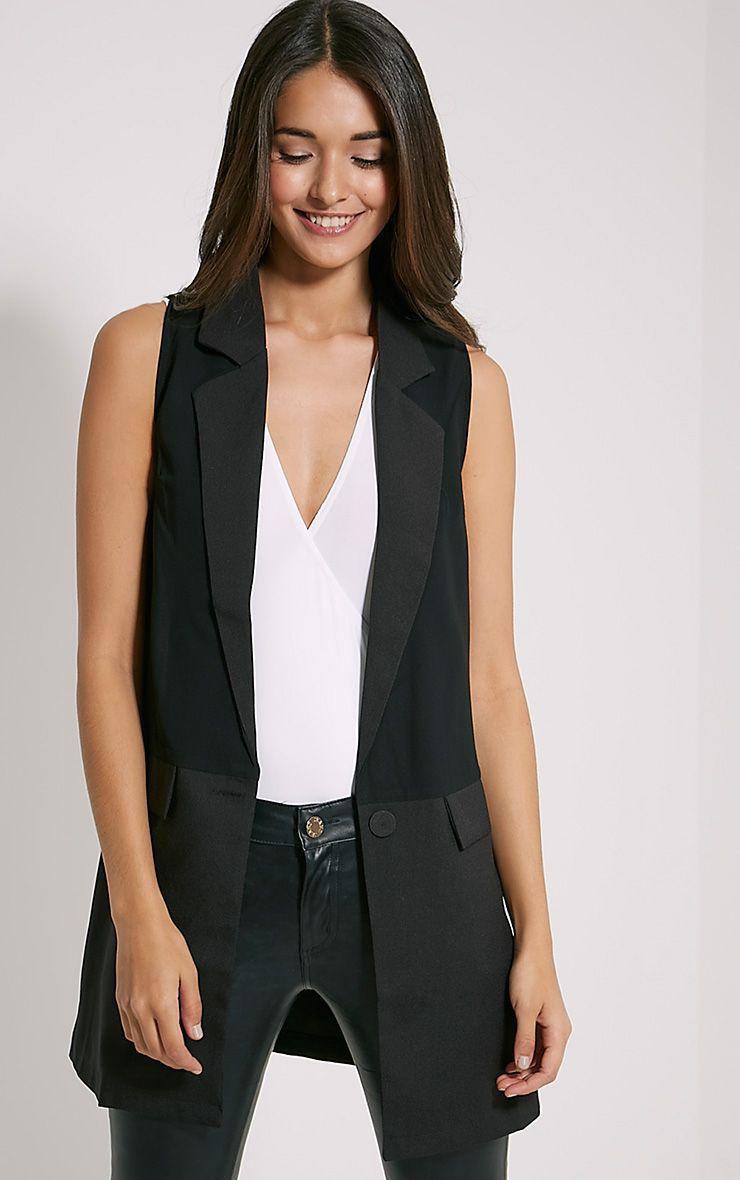 Vienna Black Sleeveless Blazer 1