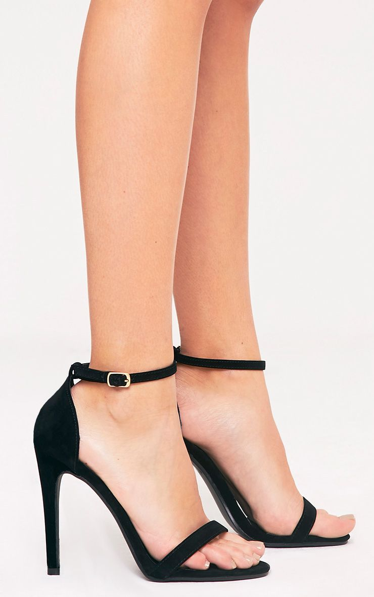 Clover Black Strap Heeled Sandals
