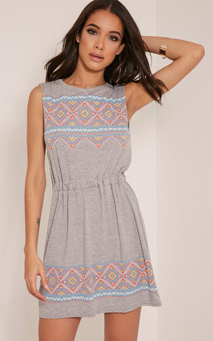 Felicity Grey Marl Embroidered Print Beach Dress 1