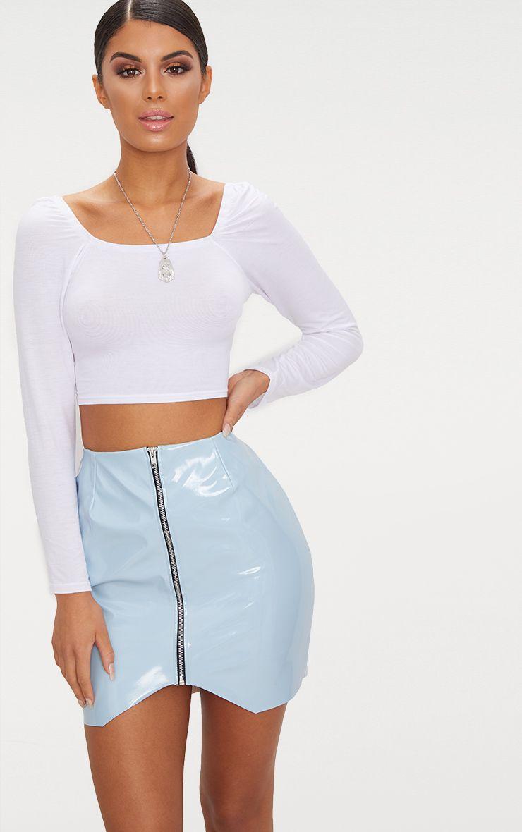 Baby Blue Zip Front Vinyl Mini Skirt