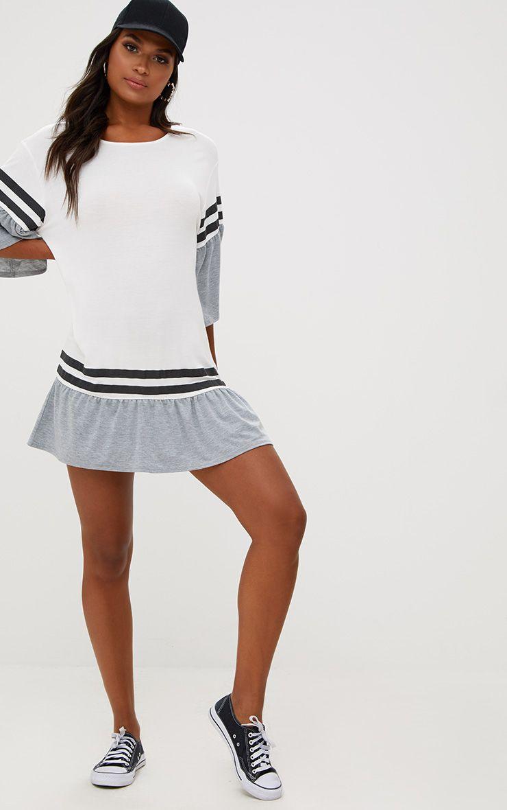 White Contrast Frill Sleeve T Shirt Dress