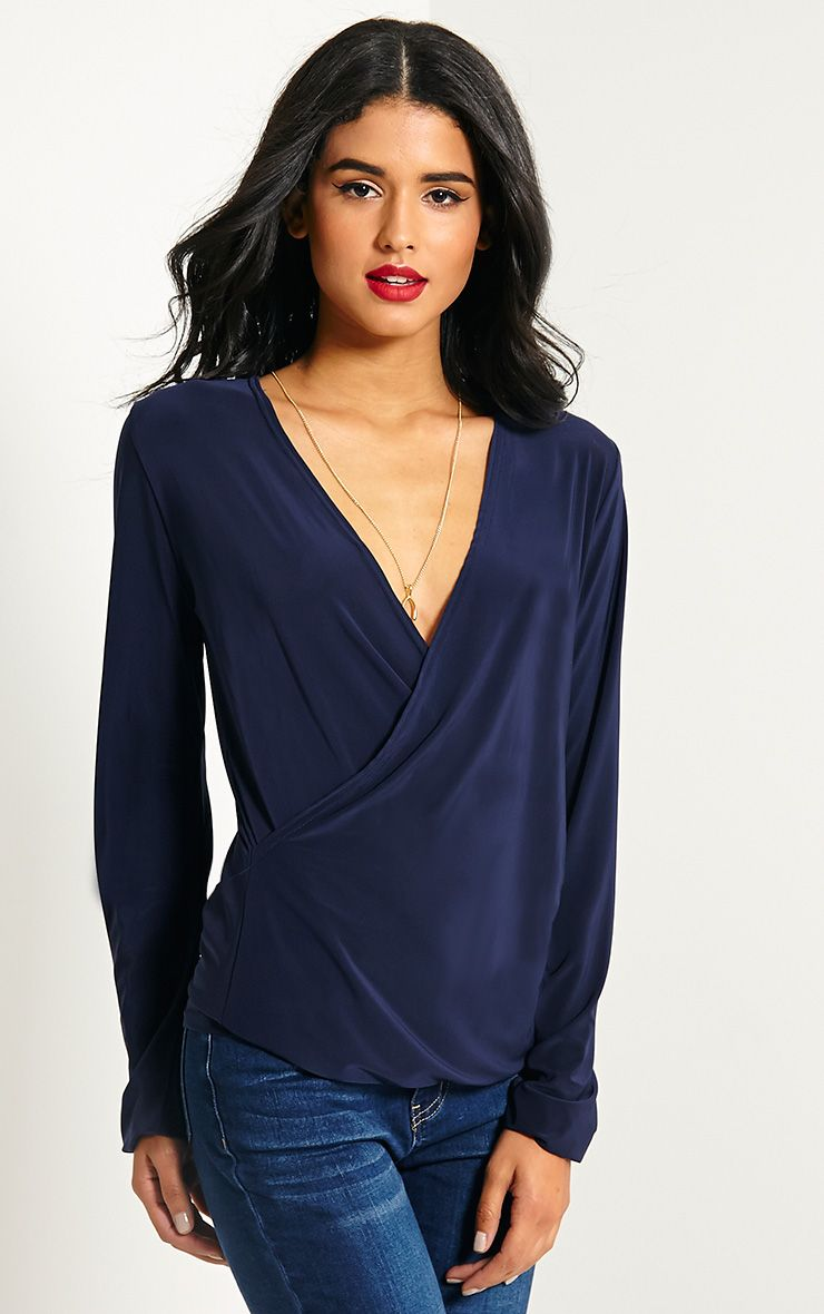 Kimberley Navy Slinky Wrap Top 1