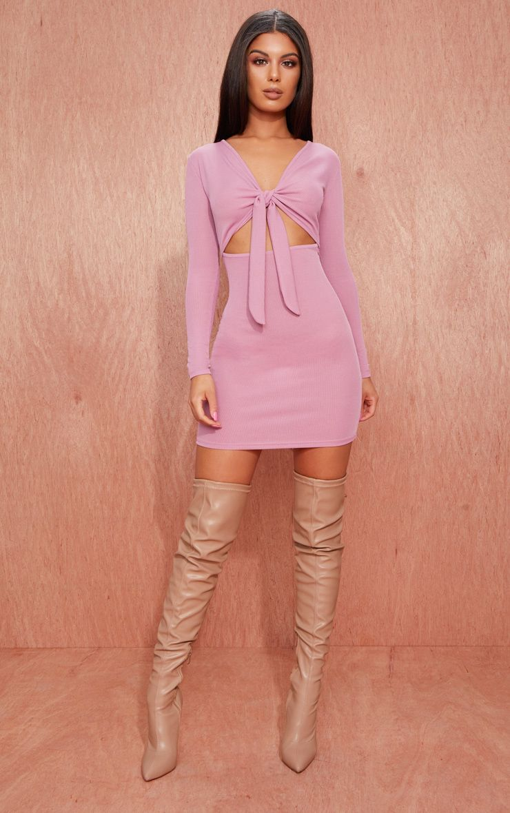 Mauve Ribbed Long Sleeve Tie Front Bodycon Dress