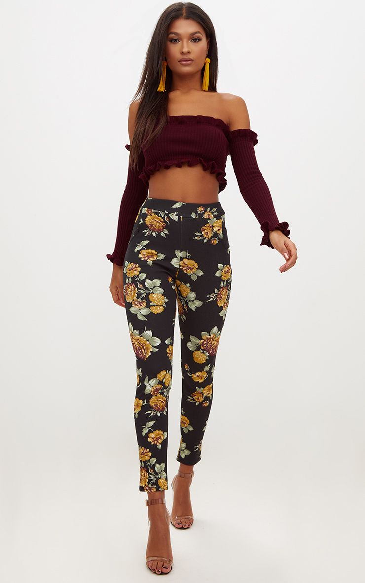 Mustard Floral Skinny Trousers
