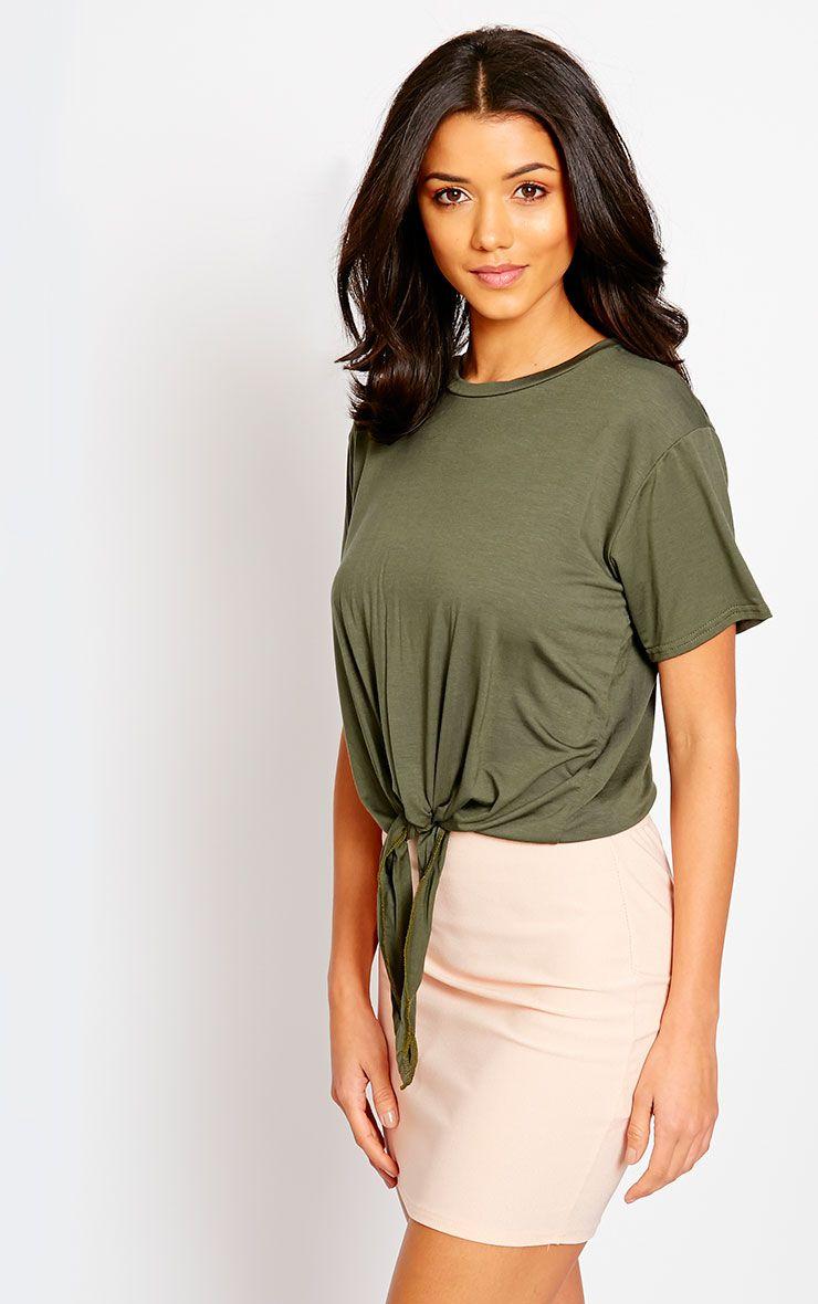 Basic Khaki Knot Front T-Shirt 1