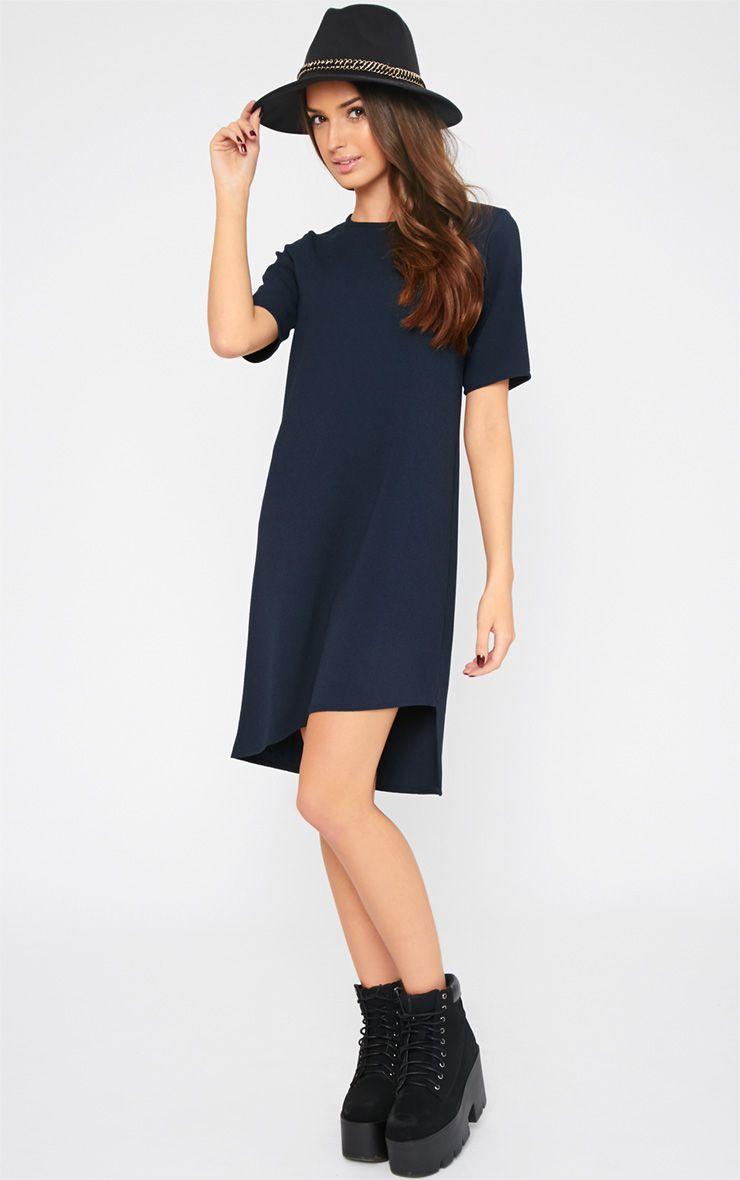Chastity Navy Asymmetric Shift Dress 1