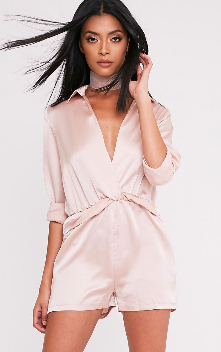 Anora Champagne Satin Plunge Playsuit