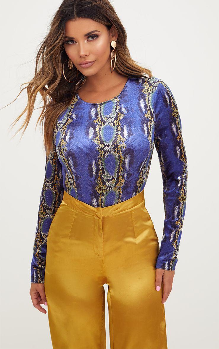 Blue Velvet Snake Print Longsleeve Thong Bodysuit