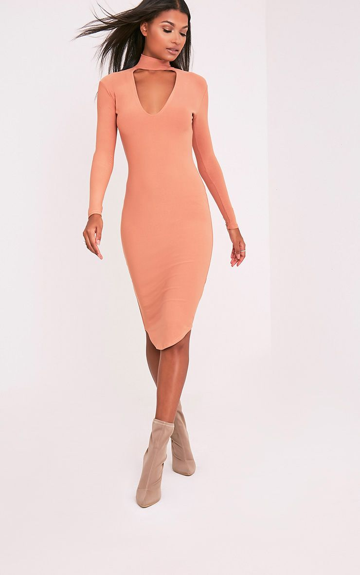 Malaya Peach Crepe Choker Detail Midi Dress
