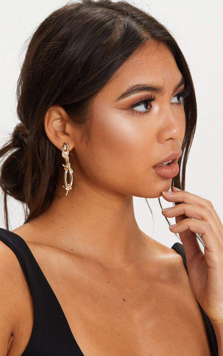 Gold Barbed Wire Drop Earrings 1