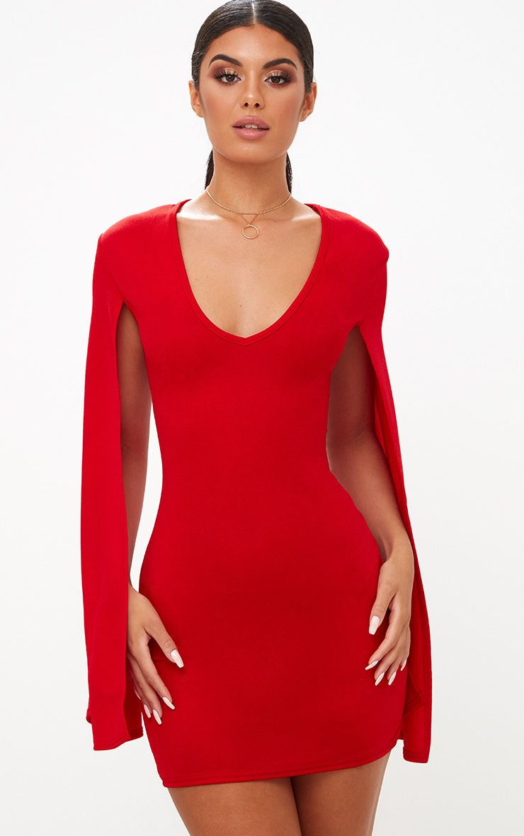 Red Split Arm Bodycon Dress