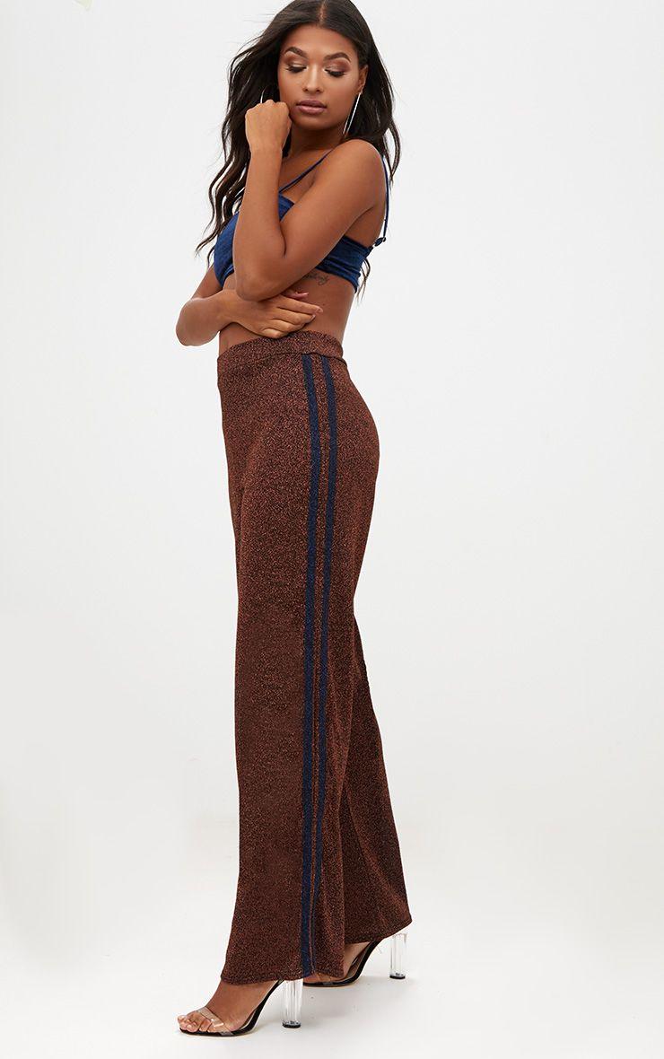 Copper Metallic Track Stripe Wide Leg Trousers