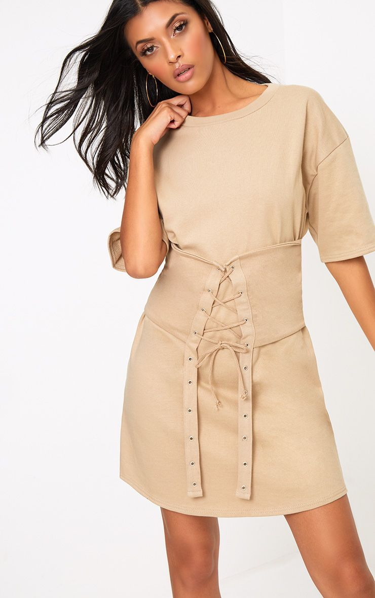 Camel Loop Back Short Sleeved Corset Dress