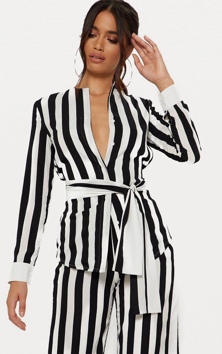 Monochrome Humbug Stripe Tie Waist Shirt