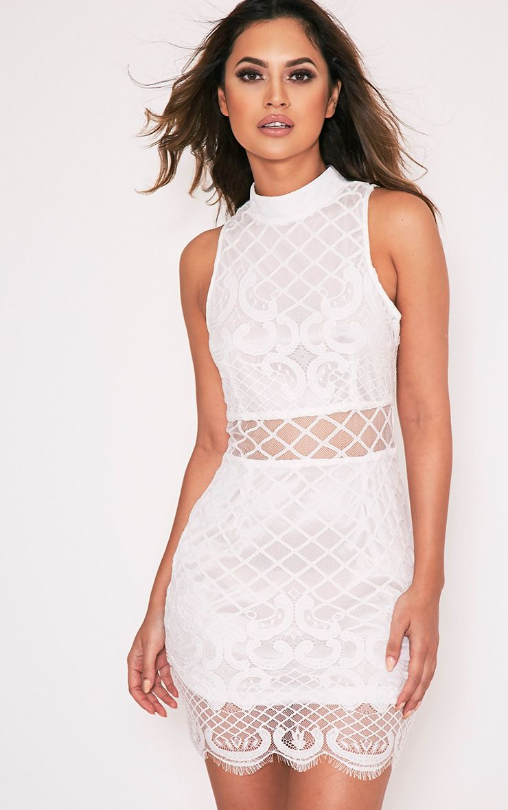Aura White Lace Up Back Bodycon Dress