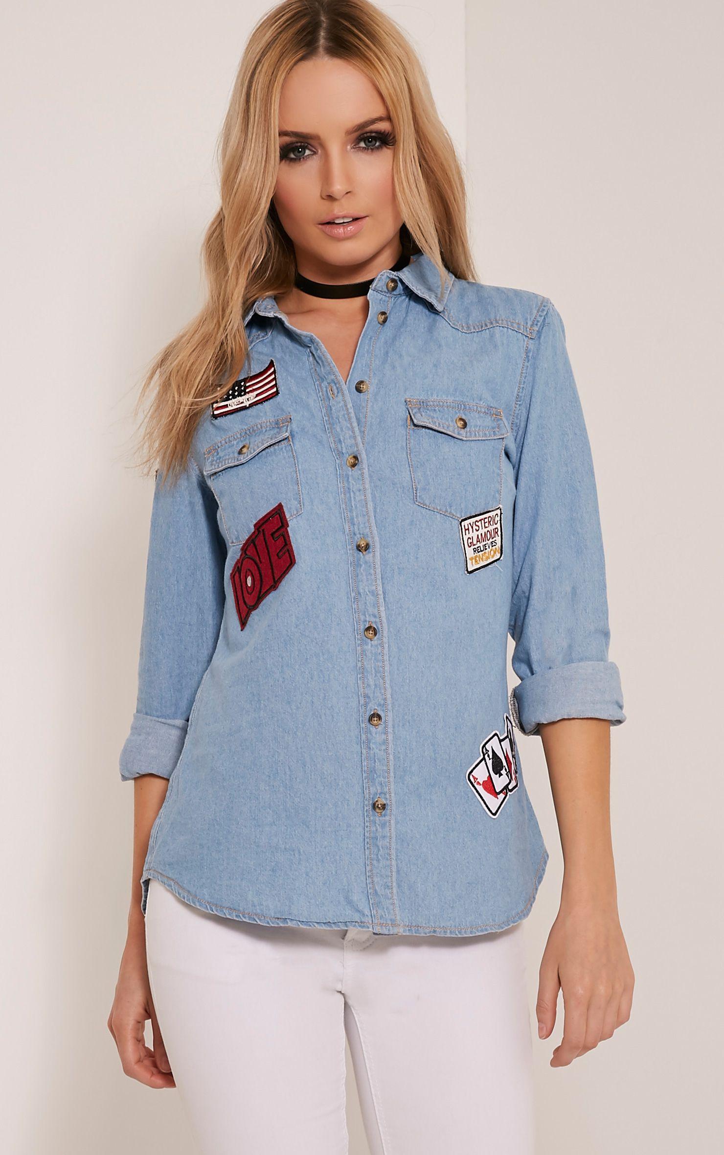 Cambree Light Wash Badge Detail Denim Shirt 1