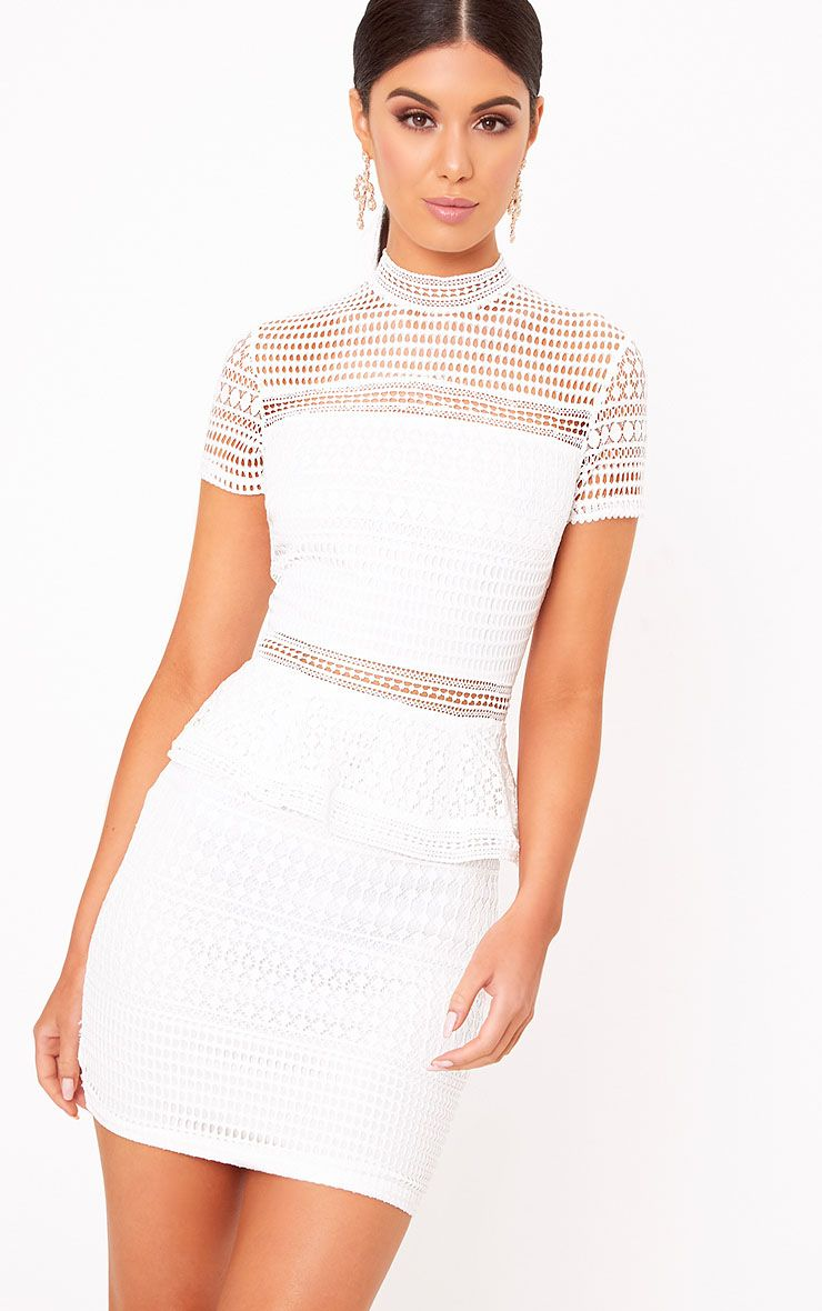 Annalisah White Lace High Neck Bodycon Dress