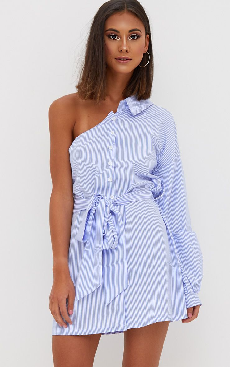 Blue Striped One Shoulder Shirt Dress