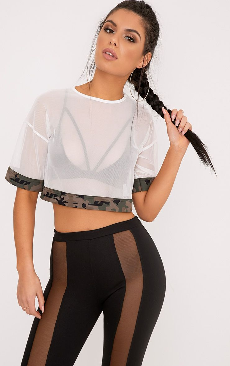 Kyla White Mesh Camo Trim Crop T Shirt