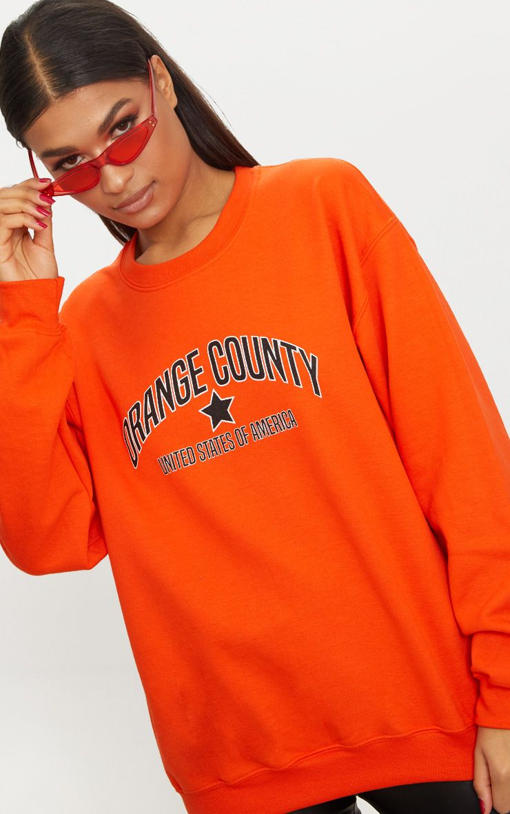 Orange County Slogan Oversized Sweater