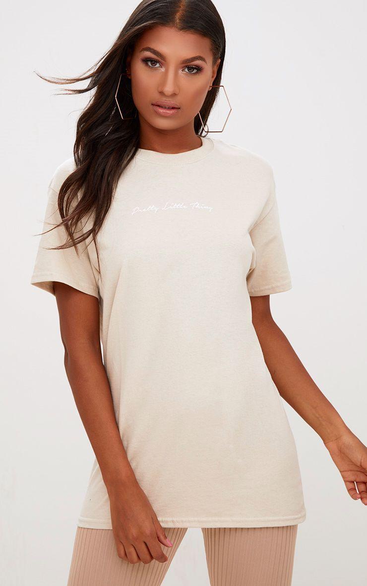 PrettyLittleThing Slogan Sand Oversized T Shirt