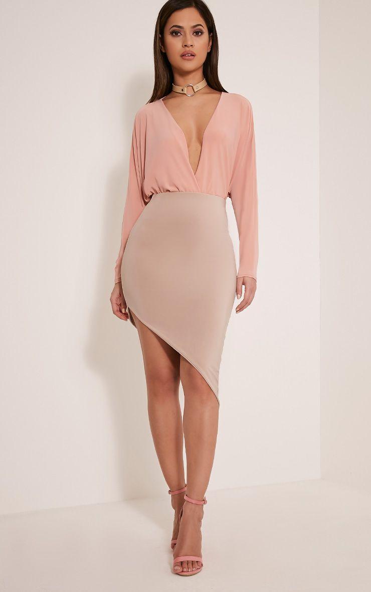 Sereena Stone Asymmetric Slinky Midi Skirt 1