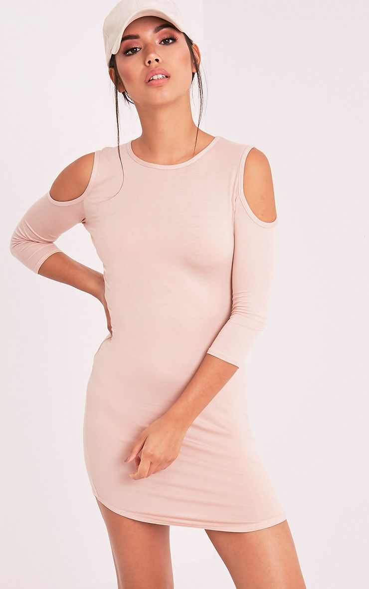 Maysie Nude Cold Shoulder Curved Hem Bodycon Dress