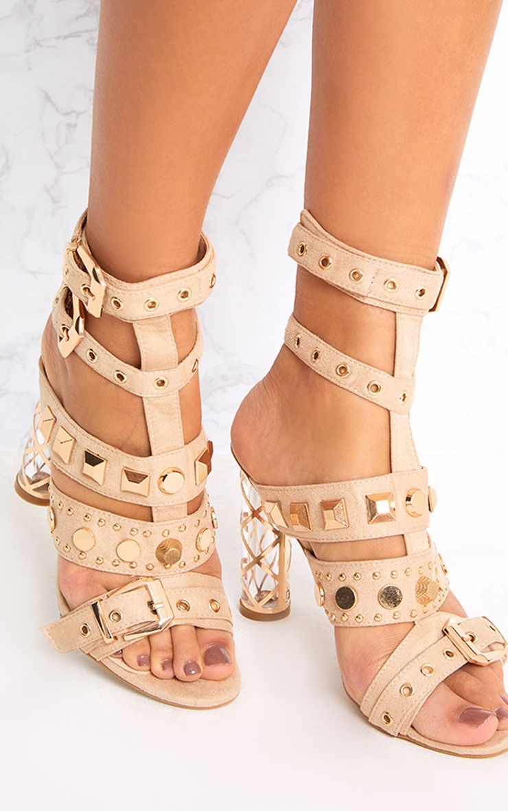 Willa Nude Studded Caged Heeled Sandals