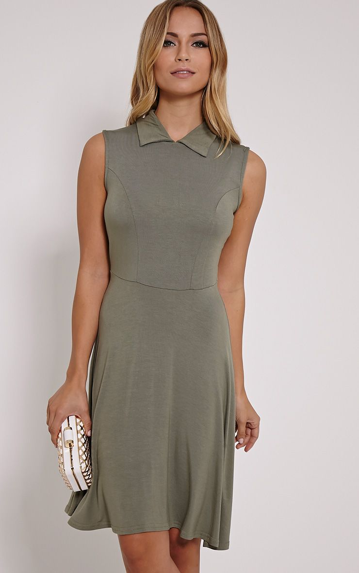 Oprah Khaki Drop Hem Collar Skater Dress 1