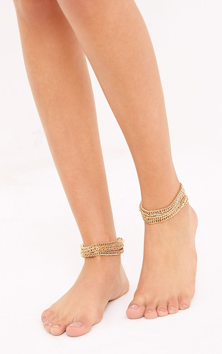 Frayae Gold Multi Layer Ankle Chains