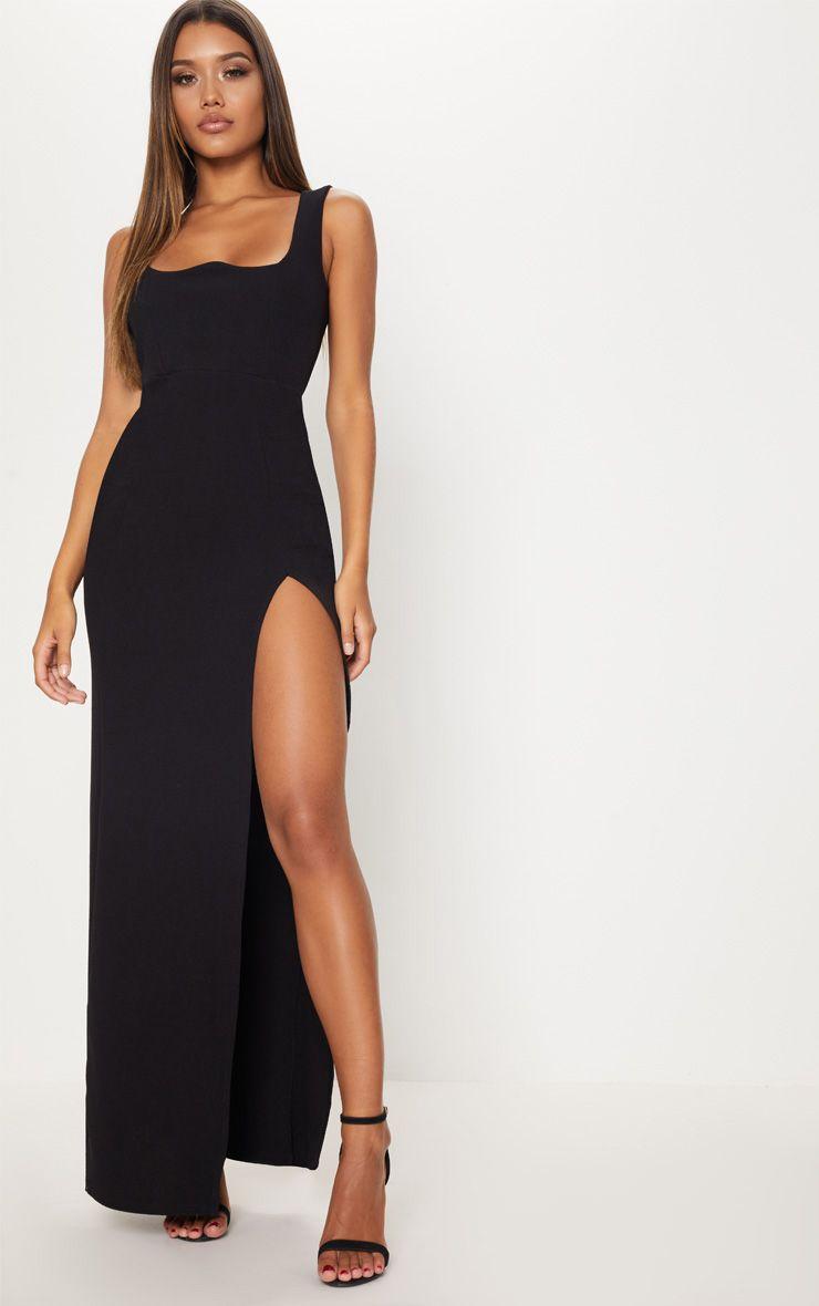 Black Square Neck V Cut Split Leg Maxi Dress Pretty Little Thing Big Sale Sale Online Cheap Sale Amazon Best Place Cheap Online Low Price Fee Shipping Sale Online Cheap Shop For WAWQcxs