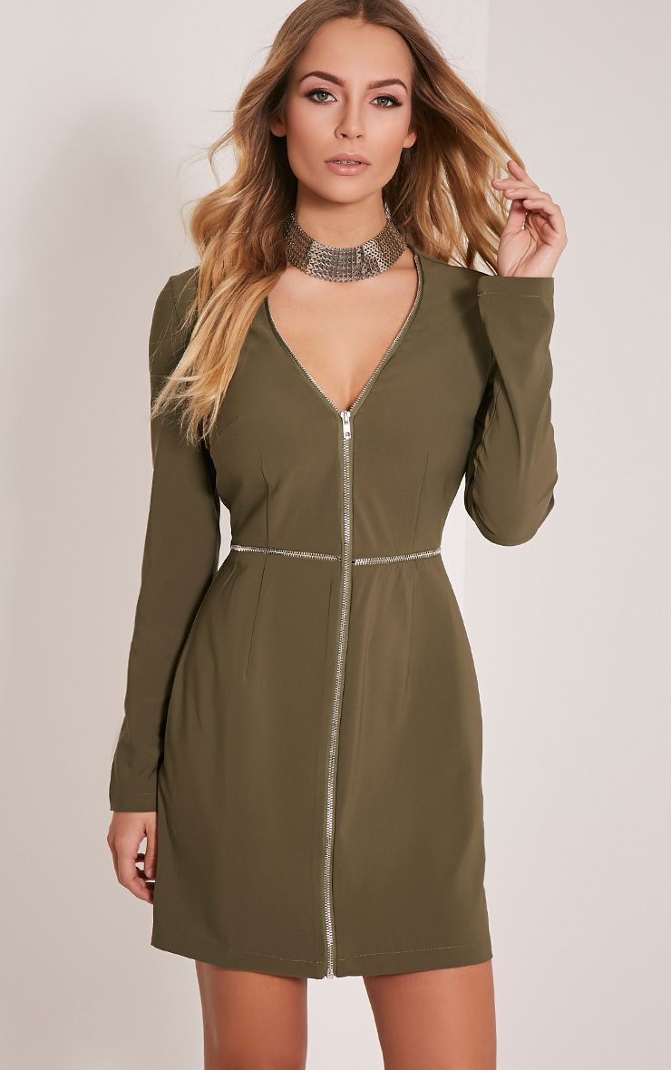 Charlene Khaki Zip Detail Bodycon Dress 1