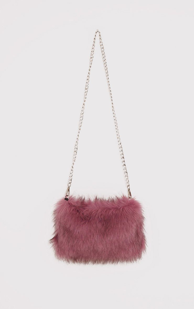 Christah Rose Faux Fur Chain Shoulder Bag