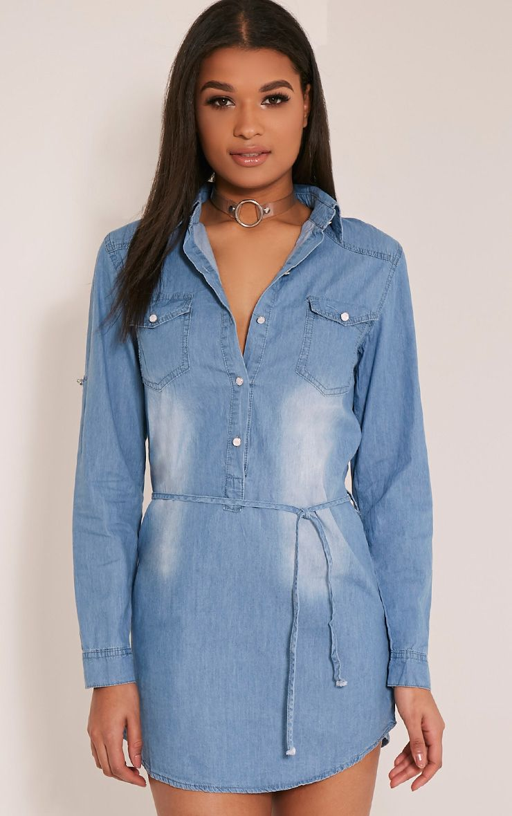 Rosemary Light Wash Tie Waist Denim Shirt Dress 1