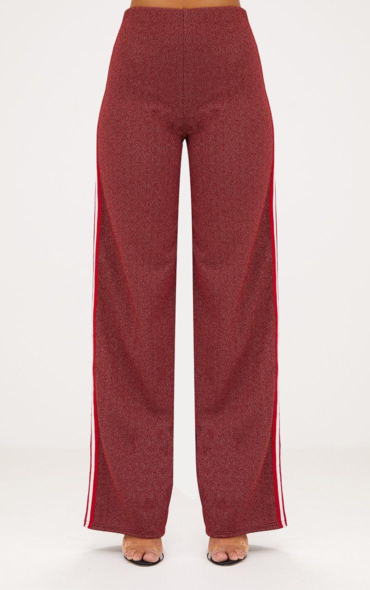 Red Lurex Sport Stripe Wide leg Trousers