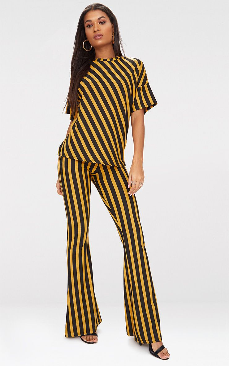 Mustard Vertical Stripe Flare Trouser