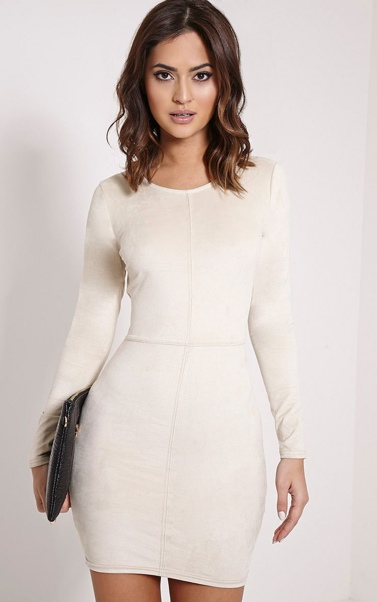 Braelynn Cream Faux Suede Long Sleeve Mini Dress 1