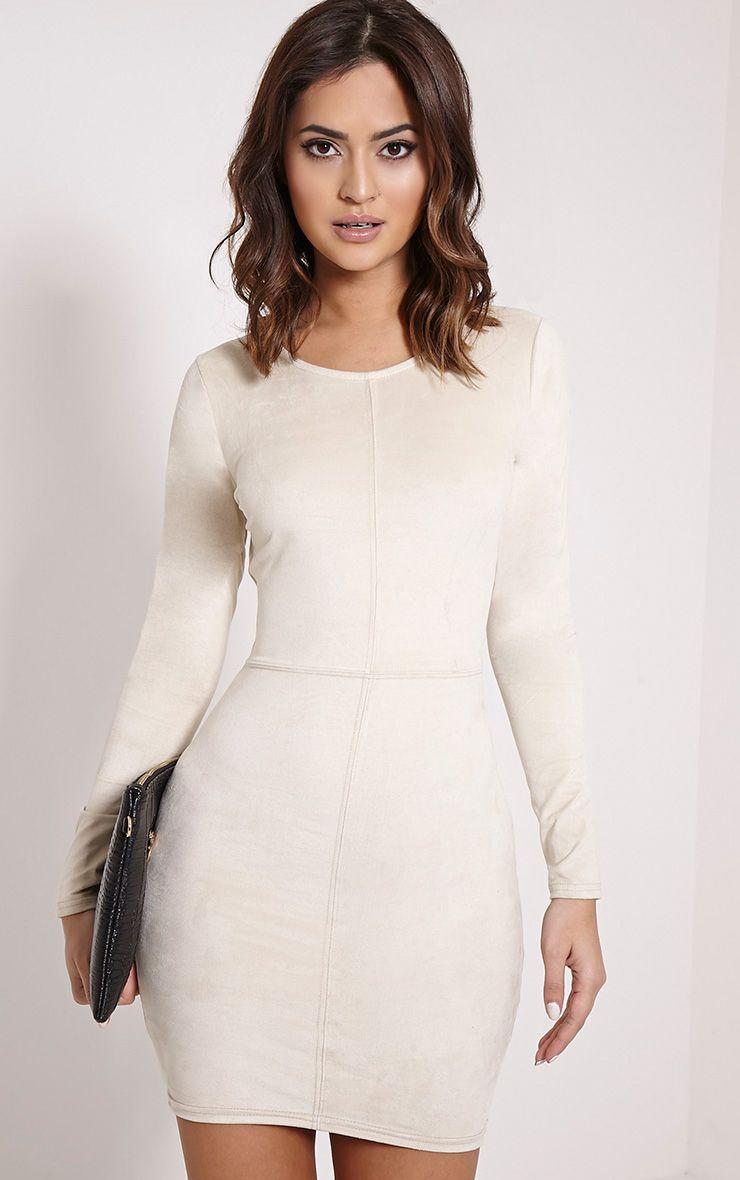 Braelynn Cream Faux Suede Long Sleeve Mini Dress 1