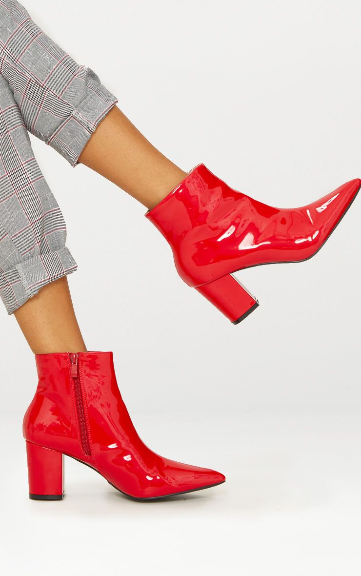 Red Point Block Heel Ankle Boot