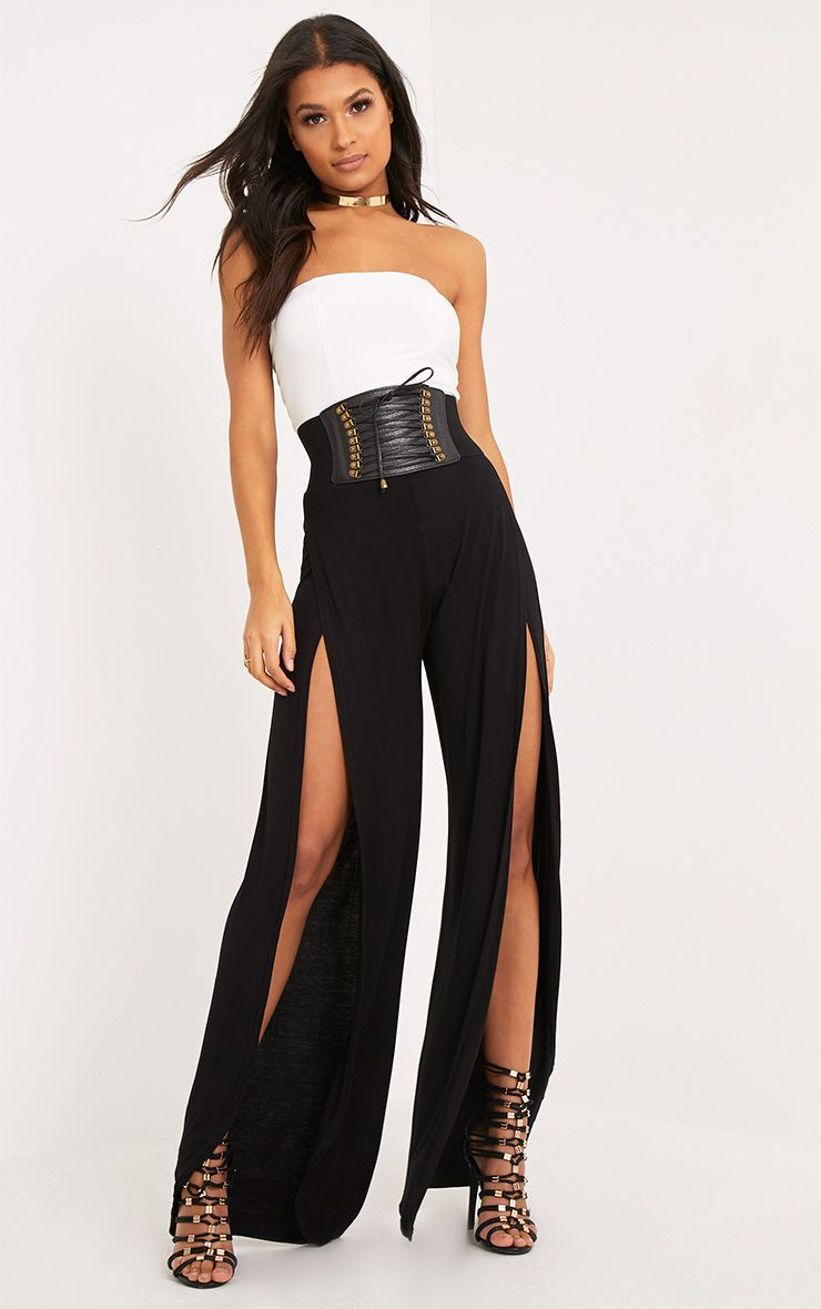 Mona Black Split Jersey Trousers