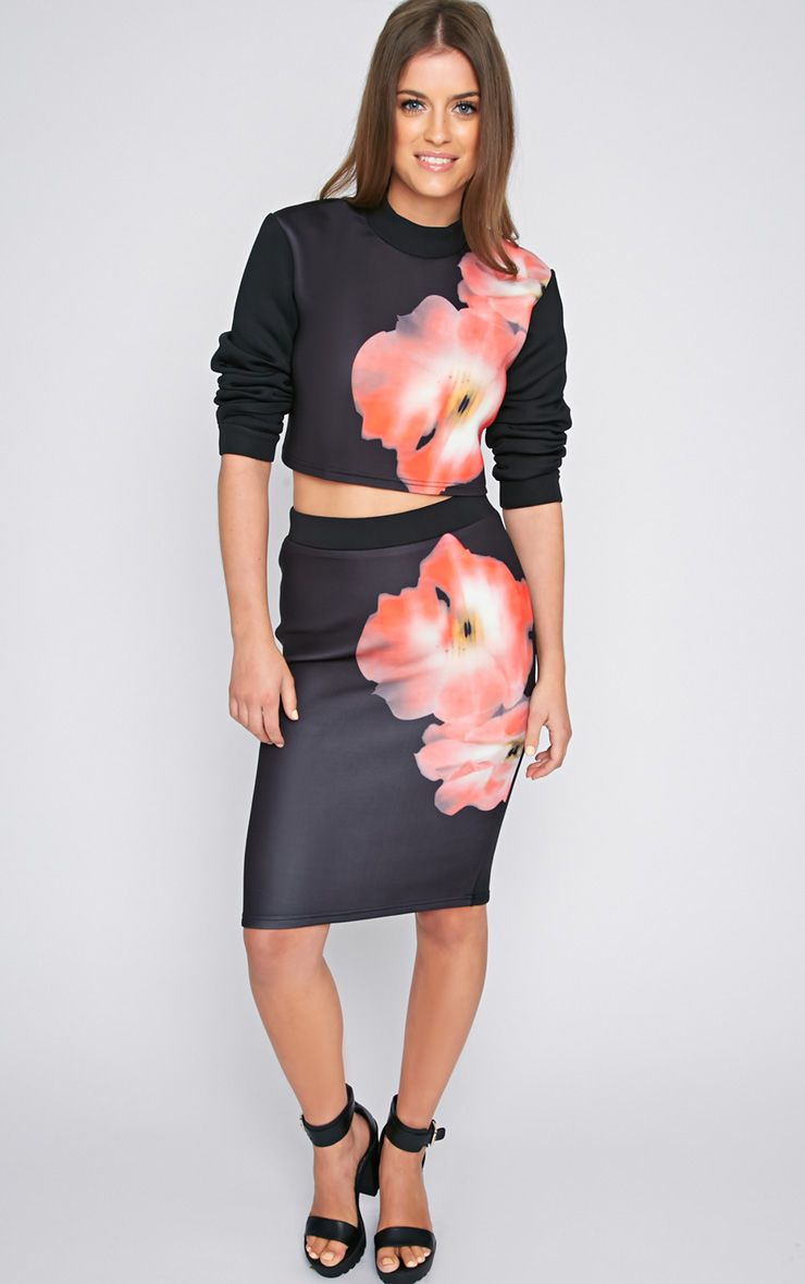 Lora Black Scuba Poppy Midi Skirt -XS 1