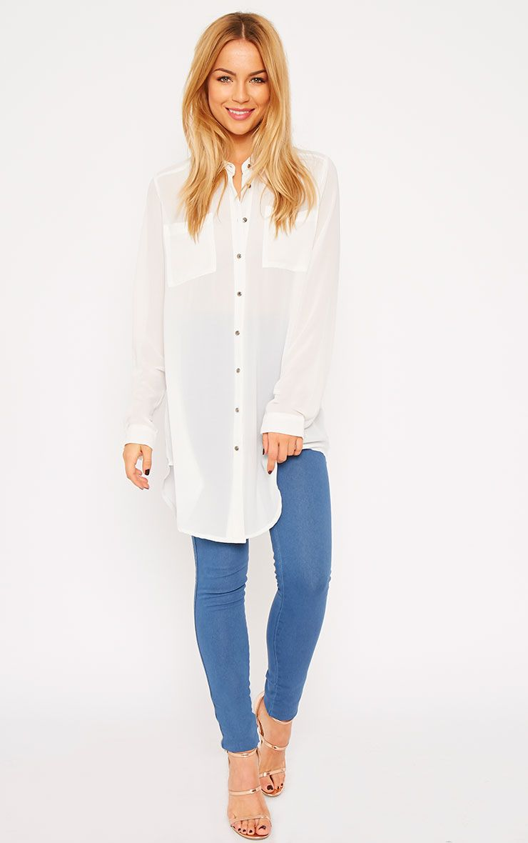 Sofie White Silver Button Shirt 1