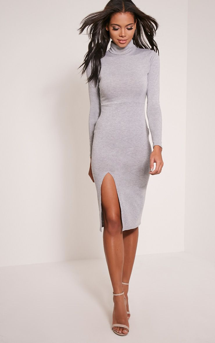 Sharia Grey Jersey Roll Neck Split Midi Dress 1