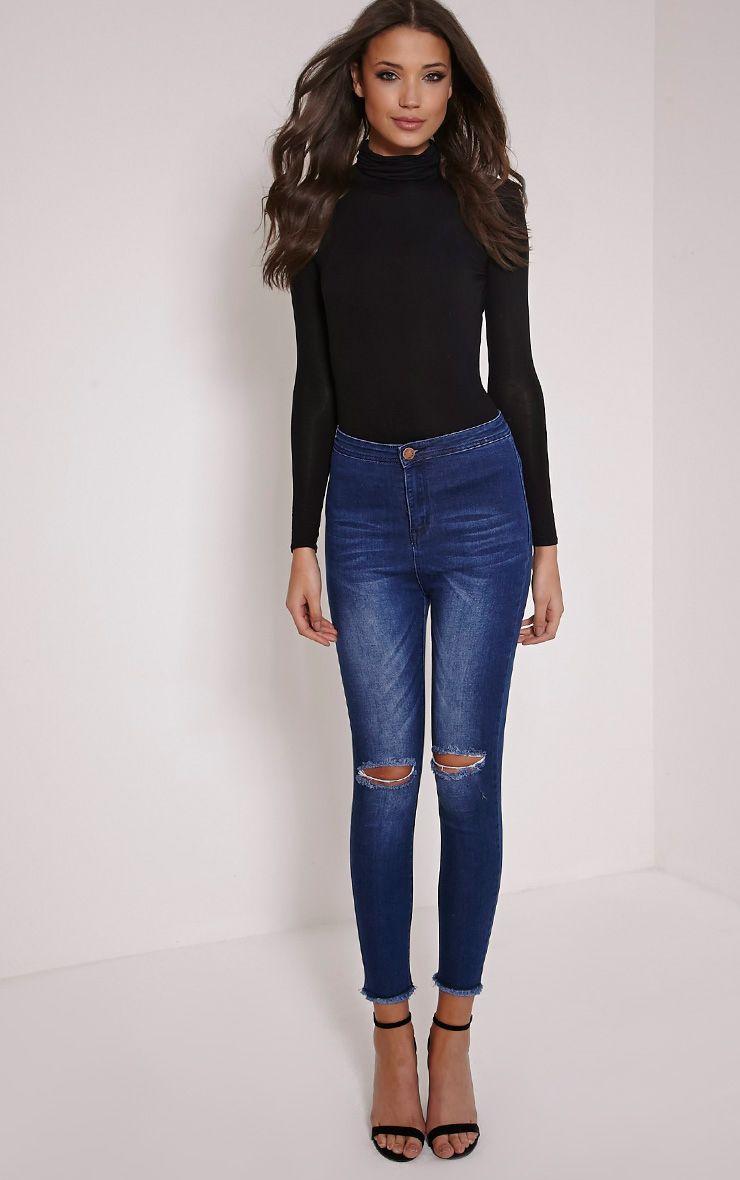 Madison Indigo High Waist Ripped Skinny Jean 1