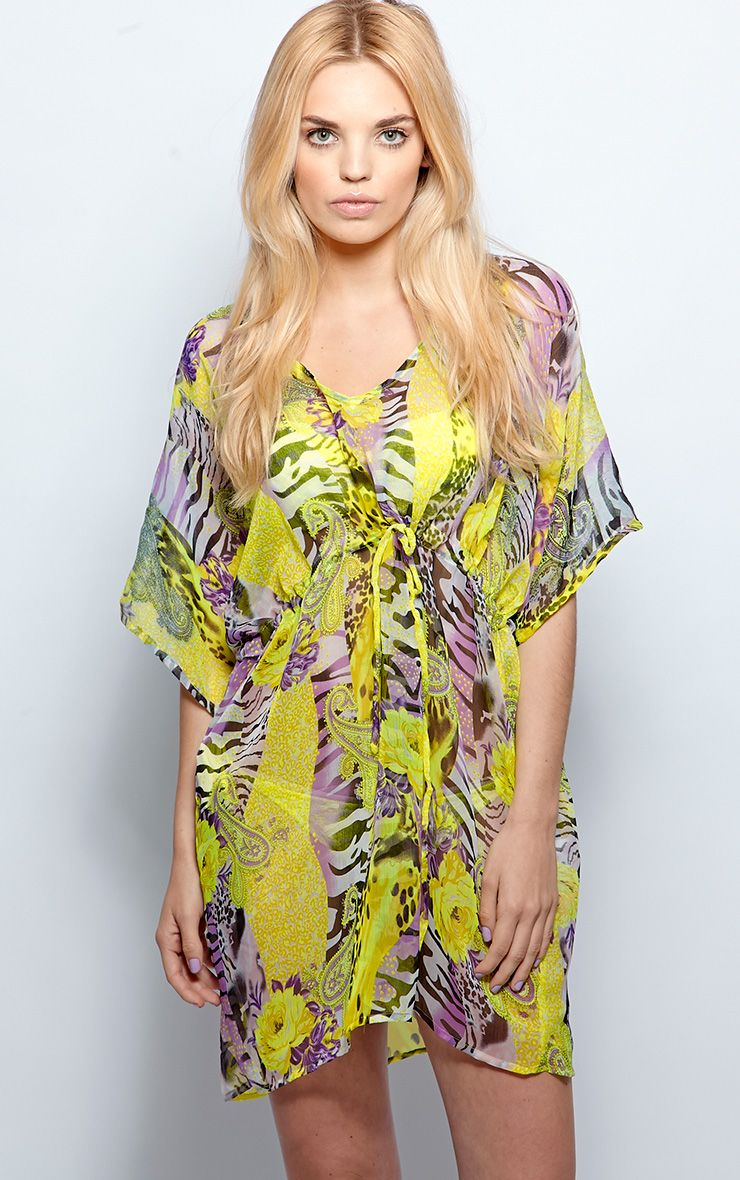 Tatiana Yellow Animal Print Kaftan  1